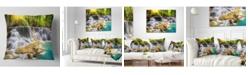 "Design Art Designart 'Kanchanaburi Province Waterfall' Photography Throw Pillow - 16"" x 16"""