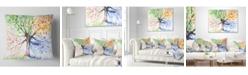 "Design Art Designart 'Four Seasons Tree' Floral Throw Pillow - 16"" x 16"""