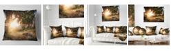 "Design Art Designart 'Picturesque Foros Mountains' Abstract Throw Pillow - 16"" x 16"""
