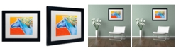 """Trademark Global DawgArt 'Horse Like The Wind' Matted Framed Art - 14"""" x 11"""" x 0.5"""""""