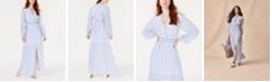 Avec Les Filles Striped Smocked-Waist Maxi Dress