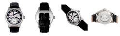 Reign Bhutan Automatic Silver Case, Genuine Black Leather Watch 43mm