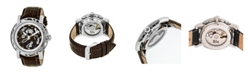Reign Stavros Automatic Silver Case, Genuine Brown Leather Watch 44mm
