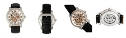 Reign Kahn Automatic Skeleton White Dial, Silver Case, Genuine Black Leather Watch 45mm