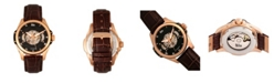 Reign Henley Automatic Semi-Skeleton Rose Gold Case, Genuine Brown Leather Watch 44mm