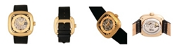 Reign Nero Automatic Gold Dial, Genuine Black Leather Watch 42mm