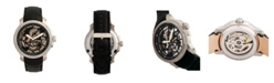 Reign Matheson Automatic Black Dial, Genuine Black Leather Watch 45mm