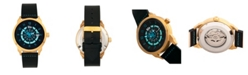 Reign Lafleur Automatic Gold Case, Teal Dial, Genuine Black Leather Watch 45mm