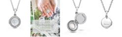 With You Lockets Mickey Mother of Pearl and Quartz Doublet (14mm) with Diamond (1/4 ct. t.w.) Photo Locket Necklace in Sterling Silver