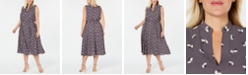 Anne Klein Plus Size Printed Drawstring Midi Dress