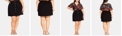City Chic Plus Size Button-Trim Pull-On Skirt