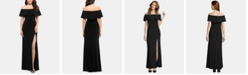 XSCAPE Petite Ruffled Off-The-Shoulder Gown