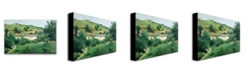 "Trademark Global Camille Pissarro 'The Path in the Village' Canvas Art - 47"" x 35"""