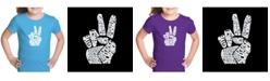 LA Pop Art Girl's Word Art T-Shirt - Peace Fingers