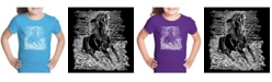 LA Pop Art Girl's Word Art T-Shirt - Popular Horse Breeds