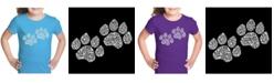LA Pop Art Girl's Word Art T-Shirt - Woof Paw Prints