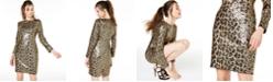 Aidan by Aidan Mattox Leopard-Sequin Sheath Dress