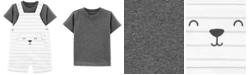 Carter's Baby Boys 2-Pc. Cotton T-Shirt & Striped Bear Shortalls Set