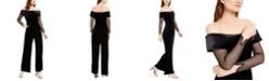 Calvin Klein Off-The-Shoulder Velvet Jumpsuit