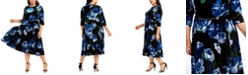 Calvin Klein Plus Size Floral-Print Velvet Dress