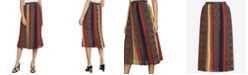 BCBGMAXAZRIA Colorblocked Printed A-Line Crinkle Skirt