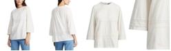 Lauren Ralph Lauren Lace-Trim Knit Cotton Top
