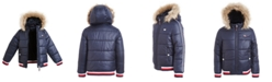 Tommy Hilfiger Little Girls Hooded Puffer Jacket With Faux-Fur Trim
