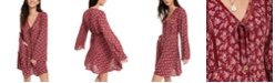 American Rag Juniors' Printed Bell-Sleeved Mini Dress, Created for Macy's