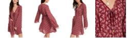 American Rag Juniors' Printed Bell-Sleeved Mini Dress, Created for Macy's