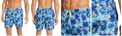 """Club Room Men's Classic-Fit Graphic-Print 7"""" Twill Swim Trunks, Created for Macy's"""