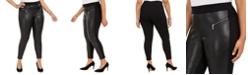 Michael Kors Plus Size Faux-Leather-Front Moto Leggings