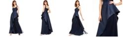 Adrianna Papell Mikado Asymmetrical-Pleated Gown