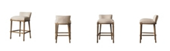 Burnham Home Designs Francesca Stool Wooden Barstool with Linen Seat and Back