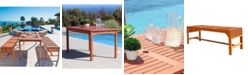 VIFAH Malibu Outdoor 3-Piece Wood Patio Dining Set with Backless Bench