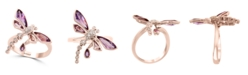EFFY Collection EFFY® Amethyst(1-3/8 ct. t.w.) & Pink Amethyst(1/10 ct. t.w.) & Diamond Accent Butterfly Statement Ring in 14k Rose Gold
