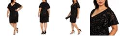 Calvin Klein Plus Size Embossed-Sequin Velvet Dress