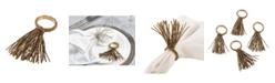 Saro Lifestyle Beaded Spray Design Event Napkin Ring, Set of 4