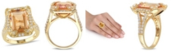 Macy's Citrine (6-1/4 ct. t.w), White Topaz (1-1/3 ct. t.w.) and Diamond Accent Halo Leaf Ring in 18k Yellow Gold Over Sterling Silver