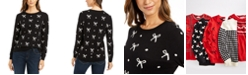 Charter Club Reese Beaded-Bow Dotted Sweater, Created for Macy's