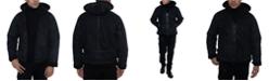 Sean John Men's Faux Shearling Hooded Bomber Jacket