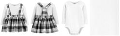 Carter's Baby Girls 2-Pc. Bodysuit & Buffalo Check Jumper Cotton Set