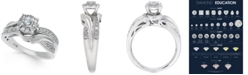Macy's Diamond Halo Twist Engagement Ring (1/2 ct. t.w.) in 14k White Gold