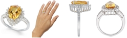 Macy's Citrine (2-7/8 ct. t.w.) & Diamond (1/4 ct. t.w.) Statement Ring in Sterling Silver