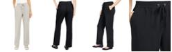 Karen Scott Sport French Terry Ribbon Trim Pants, Created for Macy's