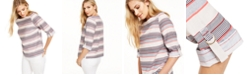 Charter Club Striped Boat-Neck Linen-Blend Top, Created for Macy's