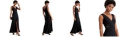 XSCAPE Petite Illusion-Inset Mermaid Gown