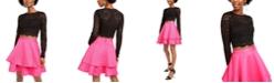 City Studios Juniors' 2-Pc. Lace Top & Satin Skirt Dress