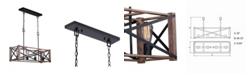 Vaxcel Colton Rustic Oak Wood Industrial Cage Island Pendant Light