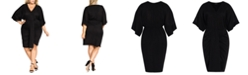 City Chic Trendy Plus Size Ruched Batwing-Sleeve Dress