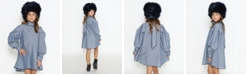 Lanoosh Big Girls Free Flowy Long Sleeve Dress with Puffy Shoulders and Necktie Detail on The Back